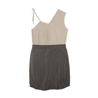 sleeveless pleats blouse & banding pumpkin skirt